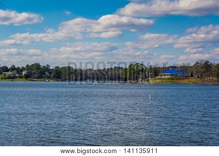 Peaceful Lake Murray Water Landscape Yacht Building Blue Roof Daytime Sun