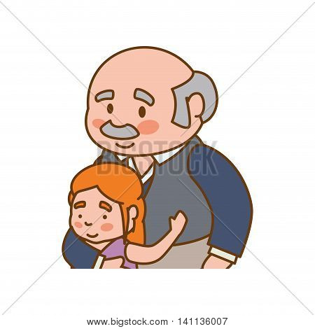 grandfather old person man male granddaughter icon. Isolated and flat illustration. Vector graphic