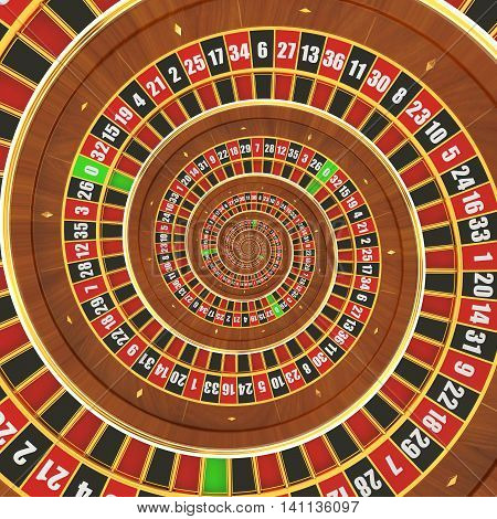 Hypnotic Spiral Casino Roulette background 3D rendering