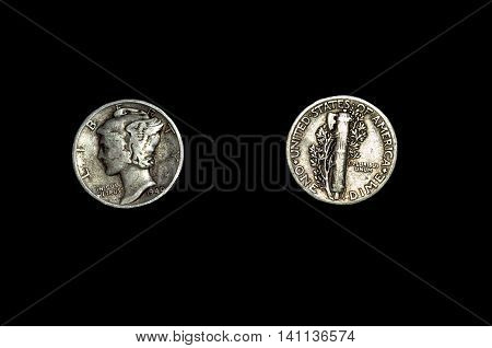 The Mercury Dime, US Currency, against isolated background
