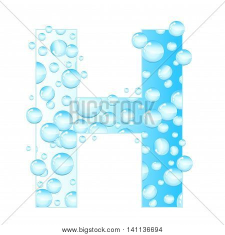 Letters soap bubbles water droplets. H Letter from the water bubbles. Aqua letter. Vector illustration.