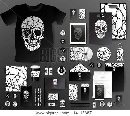 Abstract business set with skull and bubble . Corporate identity templates, notebook, card, flag, T-shirt, disk, package, label, envelope, pen