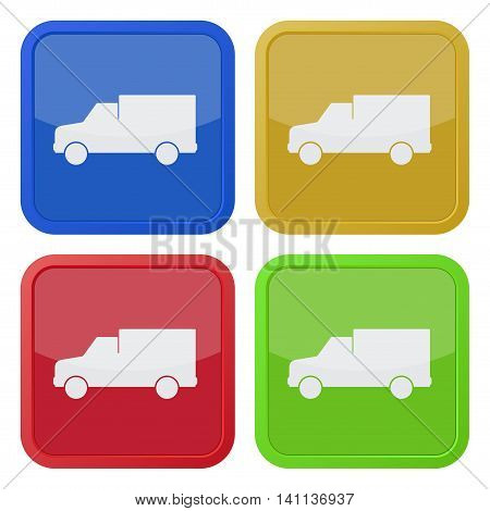 set of four colored square icons with lorry car