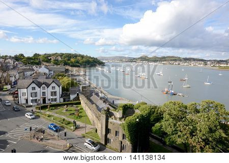 CONWY, WALES - SEPTEMBER 21, 2015: Aerial view of Conwy town, photograph taken from Conwy castle, Conwy, Wales, UK