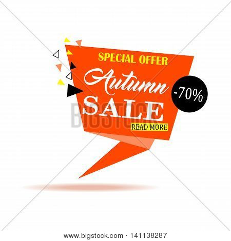 Autumn sale banner design. Paper banner can use for promotion promotional brochure booklet posters advertising shopping flyers discount banners. Vector illustration