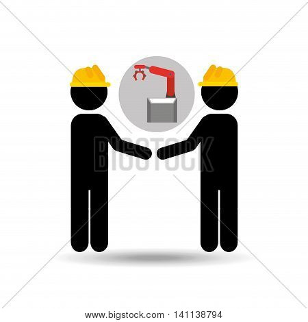 two engineering with technolgy machine, industry icon, vector illustration