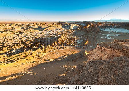 View of Valle de la Luna (Moon Valley) Cordillera de la Sal Atacama Desert Chile