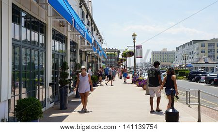 LONG BRANCH, NJ - JUL 16: Pier Village at Long Branch in New Jersey, USA, as seen on July 16, 2016. Long Branch takes its name from the