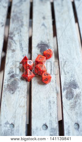 Baord Game Red Dice On Wooden Table