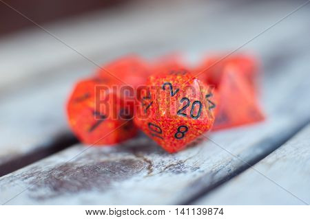 Detail Of Red Icosahedron Dice