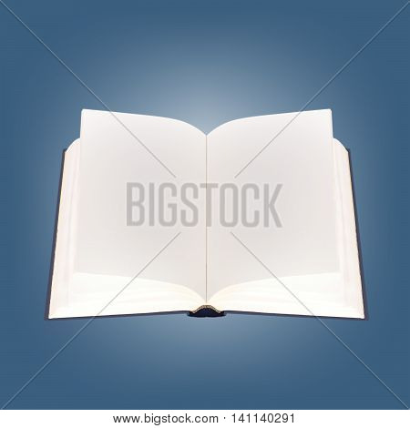 Book - the open school textbook with empty sheets on a blue background