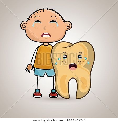 crying cartoon boy with a big cartoon tooth with a toothache