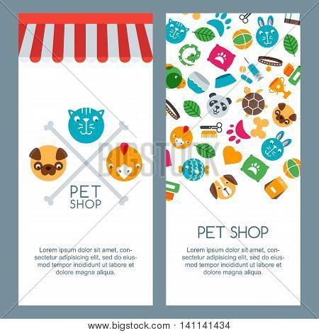 Pet Shop, Zoo Or Veterinary Banner, Poster Or Flyer Template. Vector Flat Pets Icons.