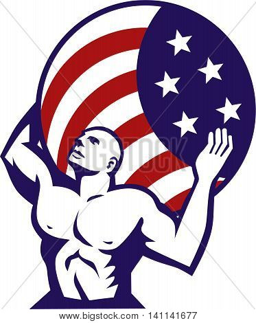 Illustration of Atlas looking up carrying on his back globe world earth draped with usa american stars and stripes flag viewed from front set on isolated white background done in retro style.