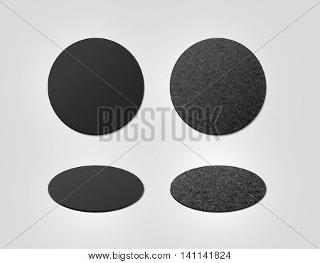 Blank black and cork textured beer coasters mockup clipping path 3d illustration. Round clear mug mat design mock up top view. Circle cup rug display 2 side set isolated. Bottle plain coaster