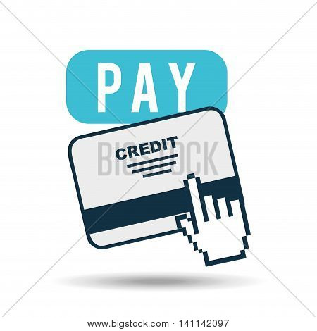 shopping goods with credit card icon, vector illustration