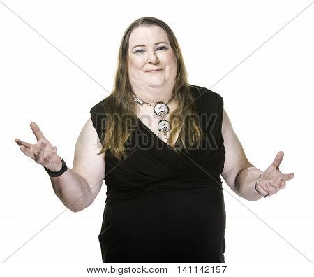 Transgender Woman In Black Dress With Hands Outstretched
