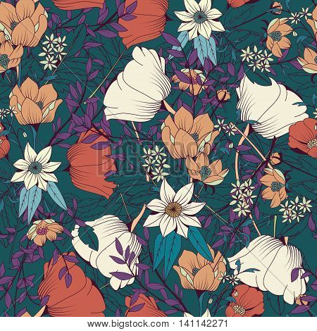 Seamless pattern design with hand drawn flowers and floral elements vector illustration