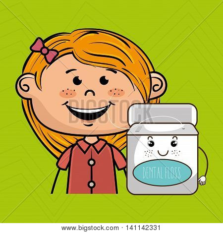 smiling cartoon girl wearing coloured clothes holding a smiling cartoon container over a green background vector illustration
