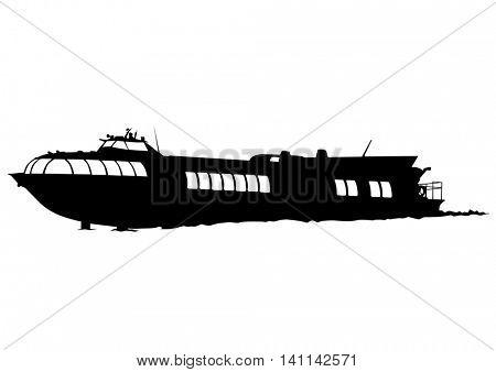 Big retro ship on white background