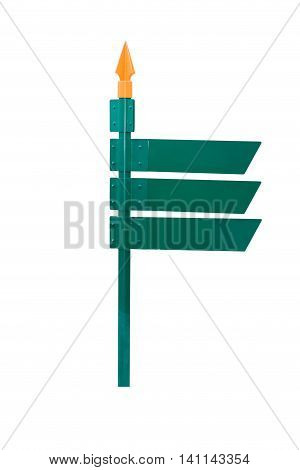 Blank Direction Green Signpost Isolated On White Background.