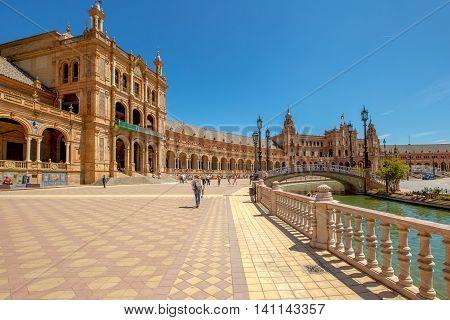Seville, Andalusia, Spain - April 18, 2016: panoramic view of Plaza de Espana, popular landmark in Seville town.