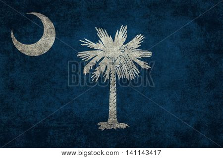 South Carolina State flag with vintage distressed textures