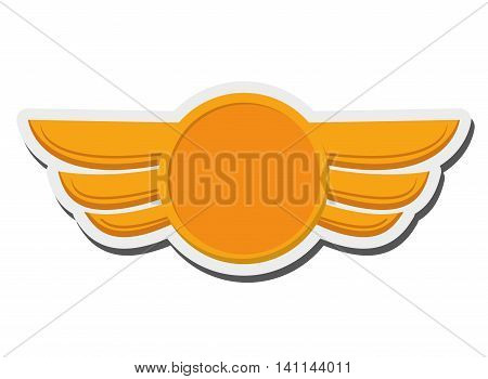 flat design aeronautical emblem icon vector illustration