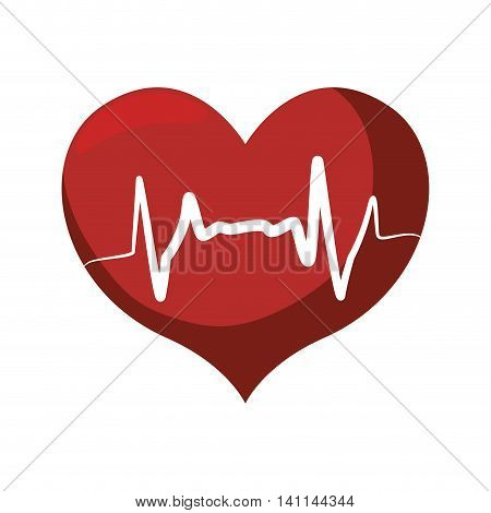 heart shape pulse cardio medical health care icon. Isolated and flat illustration. Vector graphic