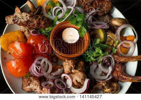 Various grilled meat and vegetable in Georgian restaurant