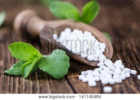 Stevia Sweetener On Wooden Background