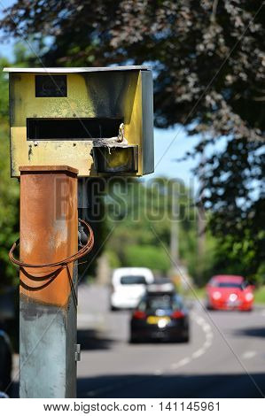Vandalised speed camera damaged by being fire bombed
