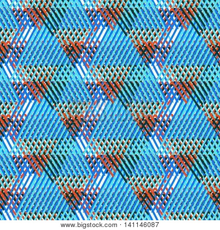 Vector bold seamless pattern with diagonal colorful lines and stripes in multiple bright blue colors. Geometric striped modern print in 1980s style for textile design. Abstract tech grunge background