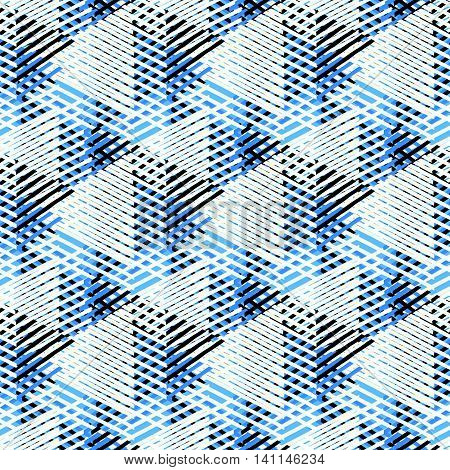 Vector bold seamless pattern with dynamic diagonal crossing lines and stripes in black, blue, white colors. Geometric striped modern print in 1980s style for textile design. Abstract techno background