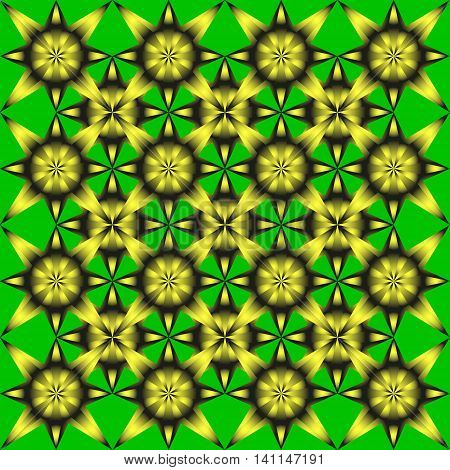 Geometric flowers. Pattern of yellow sunflowers on a green background