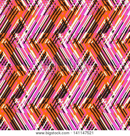 Vector geometric seamless pattern with lines and zigzags in bright orange, pink colors. Striped modern bold print in 1980s retro style for summer fall fashion. Abstract techno chevron background