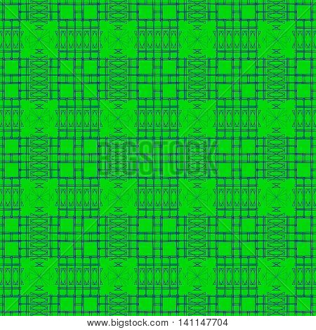 Geometric pattern of sharp lines. Black silhouettes exactly cut the squares on a green background for the pattern