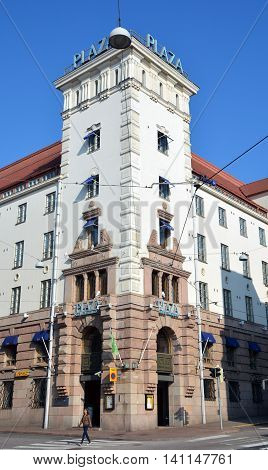 HELSINKI FINLAND SEPTEMBER 26 2105: Radisson Blu Plaza Hotel, Helsinki blends historic tradition with modern design.