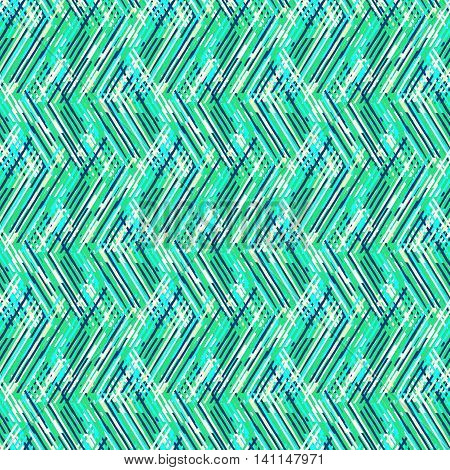 Vector geometric seamless pattern with lines and zigzags in bright tropical blue colors. Striped modern bold print in 1980s retro style for summer fall fashion. Abstract techno chevron background