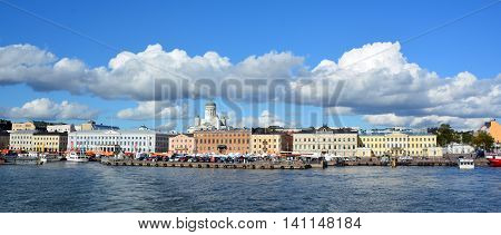 HELSINKI, FINLAND SEPTEMBER 25 2015: Market Square (Kauppatori) is central square in Helsinki and one of most famous market places and tourist attractions. Located in South Harbor
