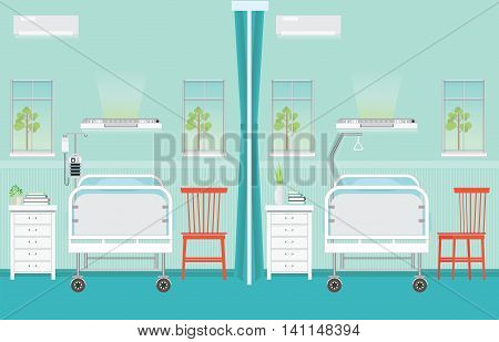 Hospital ward room interior with beds chairsBed Side Control infusion pump infusion bag medical health care vector illustration.