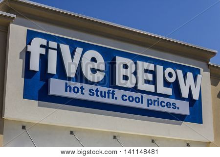 Muncie IN - Circa July 2016: Five Below Retail Store. Five Below is a chain that sells products that cost up to $5 VII