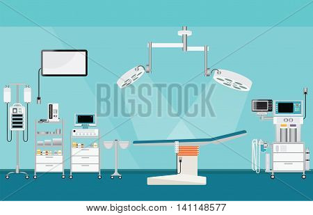 Medical hospital surgery operation with medical equipment blood pressure; heart monitor; mechanical ventilator; infusion pump; infusion bag room interior medical health care vector illustration.