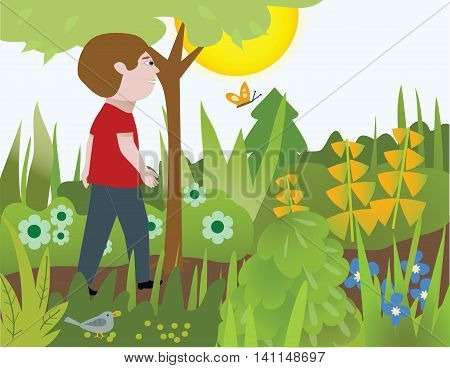 A man walking on a garden path, with a bird, butterfly, trees, shrubbery, and flowers