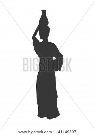 flat design woman carrying water silhouette icon vector illustration