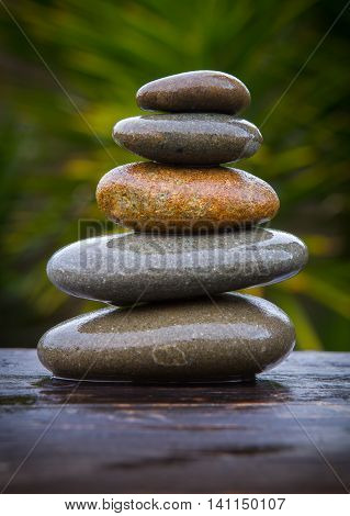pile of wet smooth round pebbles balanced on top of an old plank wet from the rain with an out of focus background of yucca trees giving copy space.