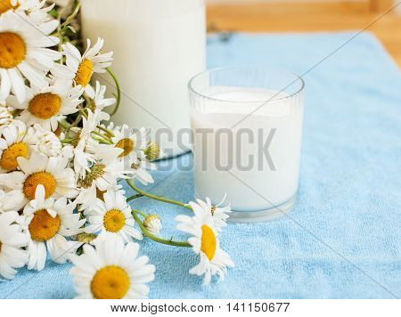 Simply stylish wooden kitchen with bottle of milk and glass on table, summer flowers camomile, healthy food morning concept close up