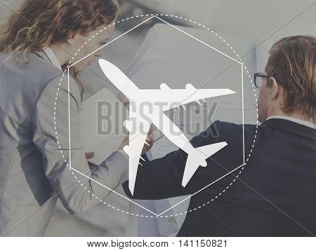 Aeroplane Transport Travel Journey Graphic Concept