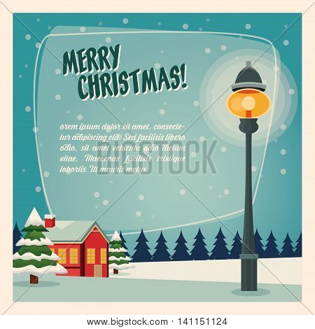 Merry Christmas concept represented by winter house and lamp icon over landscape. Colorfull and vintage illustration inside frame.