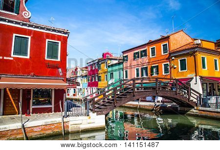Several colorful buildings in Burano, Venice, Italy.